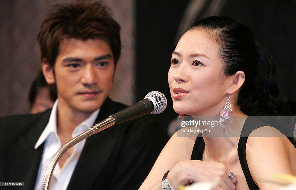 Takeshi Kaneshiro and Zhang Ziyi during Lovers Seoul Press Conference at Seoul Shilla Hotel in Seoul City Seoul South Korea