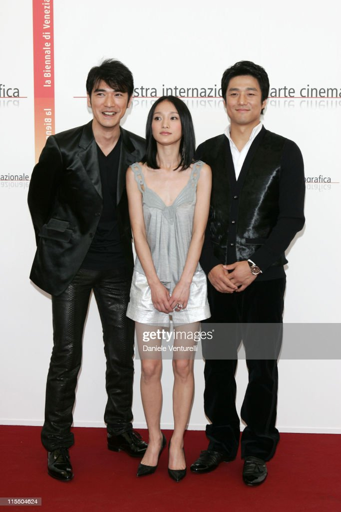 <a gi-track='captionPersonalityLinkClicked' href=/galleries/search?phrase=Takeshi+Kaneshiro&family=editorial&specificpeople=171924 ng-click='$event.stopPropagation()'>Takeshi Kaneshiro</a>, Zhou Xun and Ji Jin-Hee during 2005 Venice Film Festival - 'Perhaps Love' Photocall at Casino Palace in Venice Lidon, Italy.