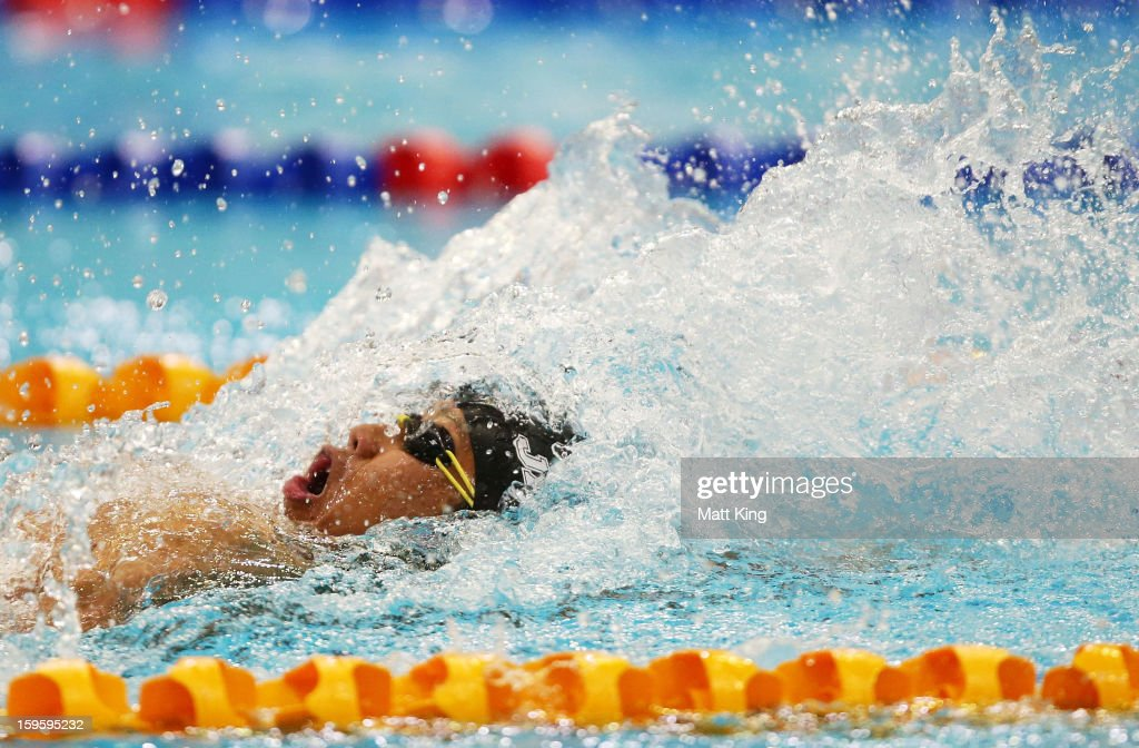 Takeshi Kawamoto of Japan competes in the Men's 100m backstroke final during day two of the 2013 Australian Youth Olympic Festival at Sydney Olympic Park Aquatic Centre on January 17, 2013 in Sydney, Australia.