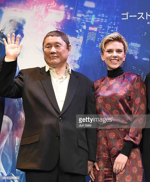 Takeshi Kitano and Scarlett Johansson attend the official press conference ahead of the World Premiere of the Paramount Pictures release 'Ghost In...