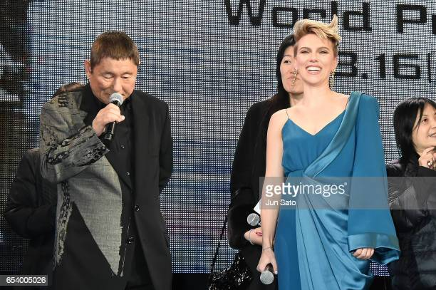 Takeshi Kitano and Scarlett Johansson attend the World Premiere of the Paramount Pictures release 'Ghost In The Shell' at TOHO Cinemas Shinjuku on...