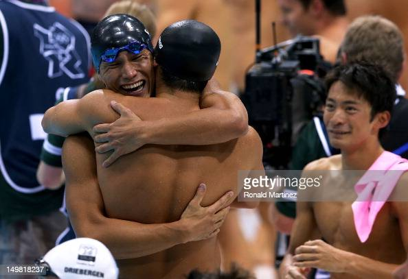 Takeshi Matsuda Kosuke Kitajima and Ryosuke Irie of Japan celebrate finishing second in the Men's 4x100m Medley Relay Final on Day 8 of the London...