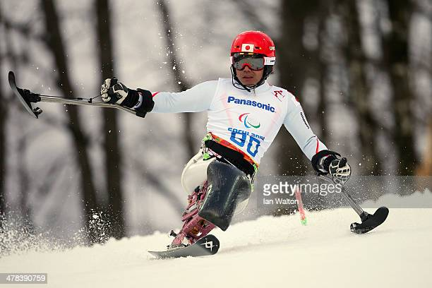 Takeshi Suzuki of Japan competes in the Men's Slalom 1st Run Sitting during day six of Sochi 2014 Paralympic Winter Games at Rosa Khutor Alpine...