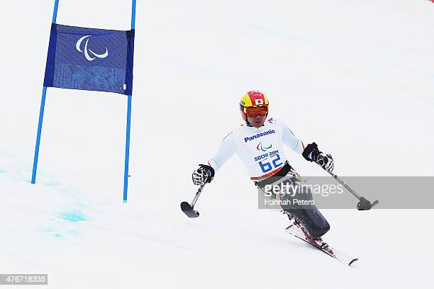 Takeshi Suzuki of Japan trains in the Men's Downhill Sitting Ski event at Rosa Khutor Alpine Center on March 5 2014 in Sochi Russia