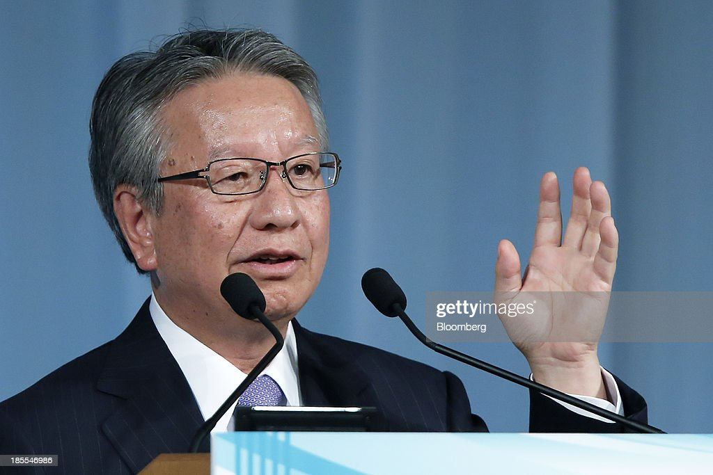 Taketsugu Fujiwara, president of Asahi Kasei Corp., gestures as he speaks at the 15th Nikkei Global Management Forum in Tokyo, Japan, on Tuesday, Oct. 22, 2013. The forum concludes today. Photographer: Kiyoshi Ota/Bloomberg via Getty Images