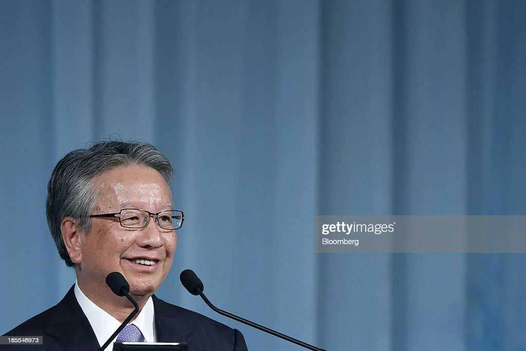 Taketsugu Fujiwara, president of Asahi Kasei Corp., smiles as he speaks at the 15th Nikkei Global Management Forum in Tokyo, Japan, on Tuesday, Oct. 22, 2013. The forum concludes today. Photographer: Kiyoshi Ota/Bloomberg via Getty Images