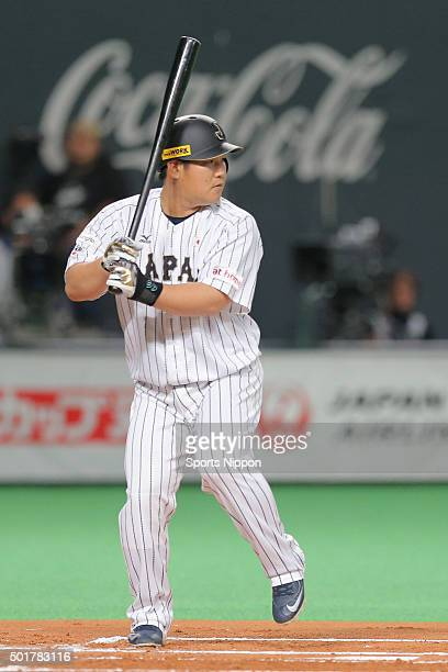 Takeya Nakamura of Japan in action during the WBSC Premier 12 match between Japan and South Korea at the Sapporo Dome on November 8 2015 in Sapporo...