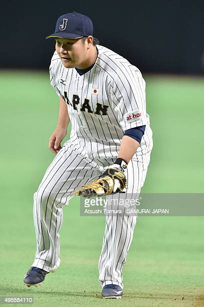 Takeya Nakamura of Samurai Japan in action during a training session at Fukuoka Dome on November 4 2015 in Fukuoka Japan