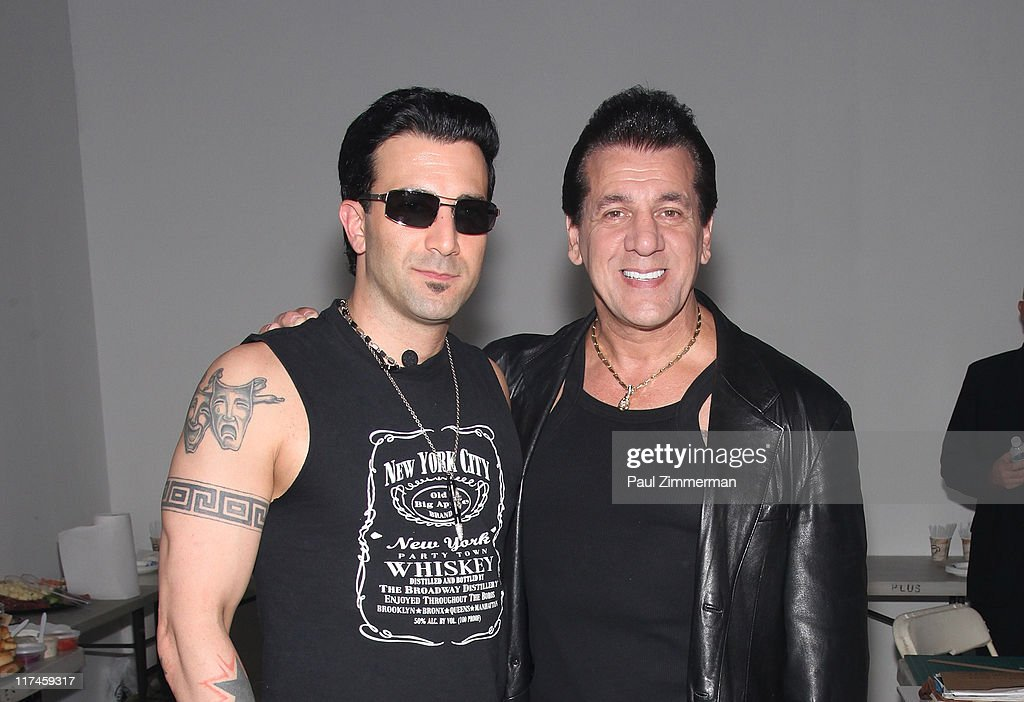 Taki Sassaris and <a gi-track='captionPersonalityLinkClicked' href=/galleries/search?phrase=Chuck+Zito&family=editorial&specificpeople=785523 ng-click='$event.stopPropagation()'>Chuck Zito</a> on the set of the Eve to Adam 'Run Your Mouth' music video shoot>> on the streets of Brooklyn on June 26, 2011 in New York City.