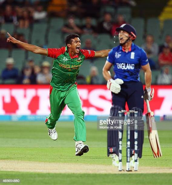 Takin Ahmed of Bangladesh celebrates after getting the wicket of James Taylor of England during the 2015 ICC Cricket World Cup match between England...