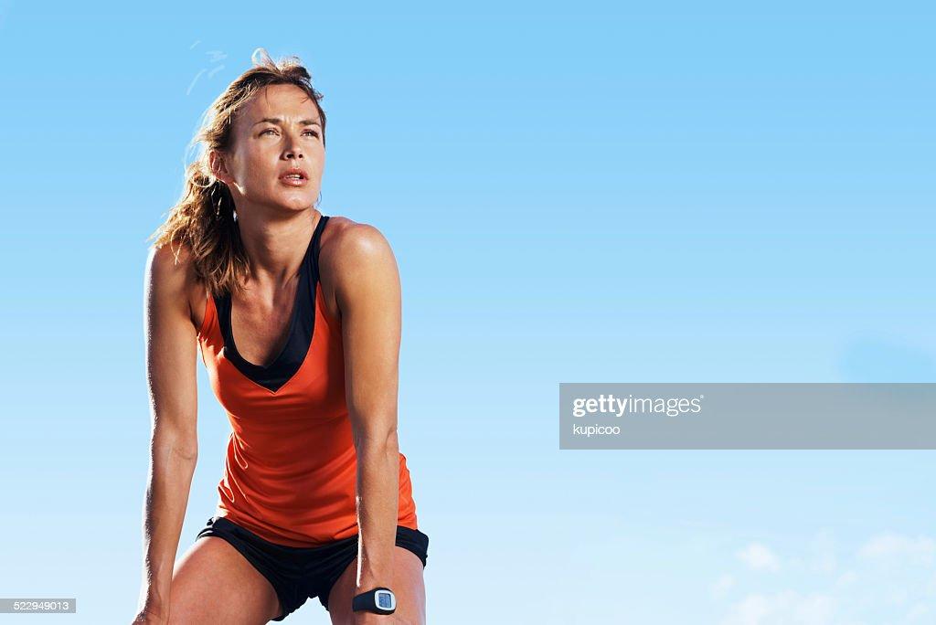 Taking a break from running : Stock Photo