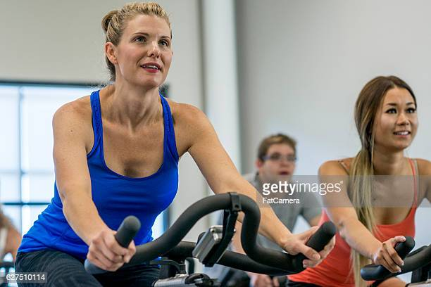 Taking a Cycling Class at the Gym