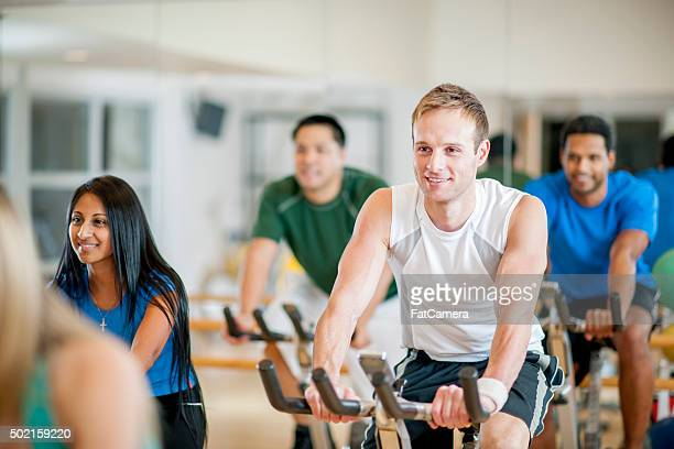 Taking a Spin Class Together at the Gym