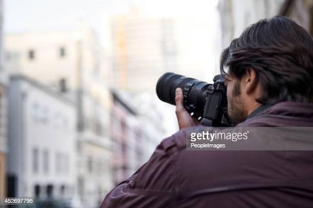 Taking a picture of an urban landscape