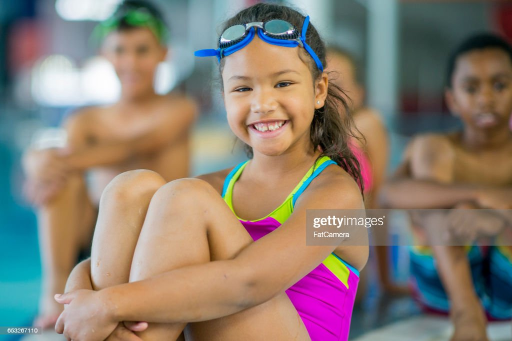Taking a Swim Class : Stockfoto