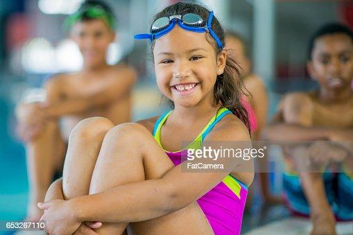 Taking a Swim Class : Stock-Foto