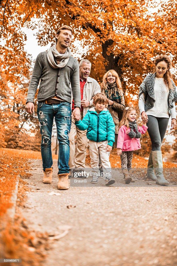 Taking a walk during autumn day. : Stock Photo