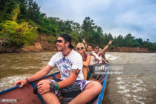 Taking a water taxi down the river.