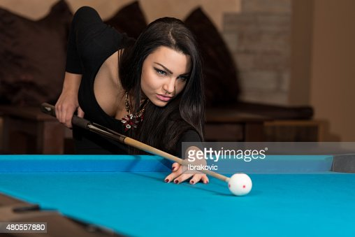 Taking Aim To Shoot The One Ball : Stock Photo
