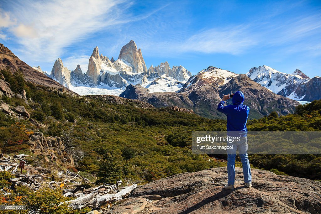Taking Fitz Roy photo : Stock-Foto