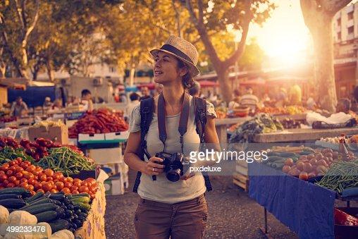 Taking in her vibrant surroundings