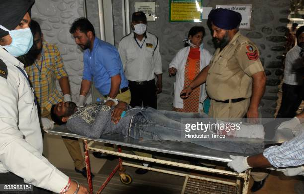 Taking Injured to General Hospital sector 16 after the Panchkula incidents on August 25 2017 in Chandigarh India Gurmeet Ram Rahim the selfstyled...
