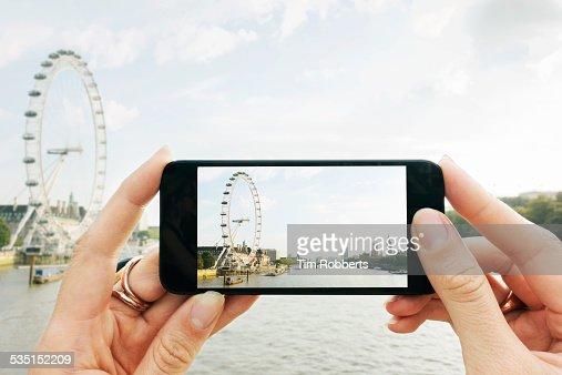 POV Taking photo on smart phone.