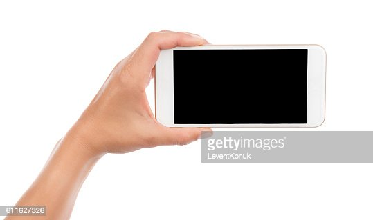 Taking Photo with Cell Phone Isolated : Foto de stock