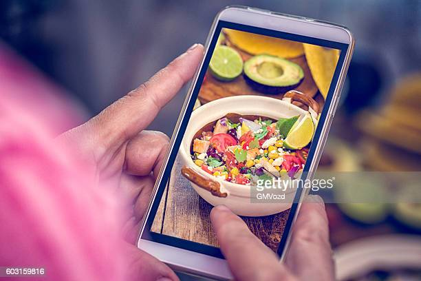 Taking Photo with Smartphone of Quinoa Chicken Chipotle