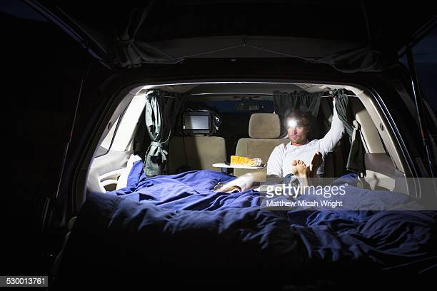 Taking refuge in a campervan at night