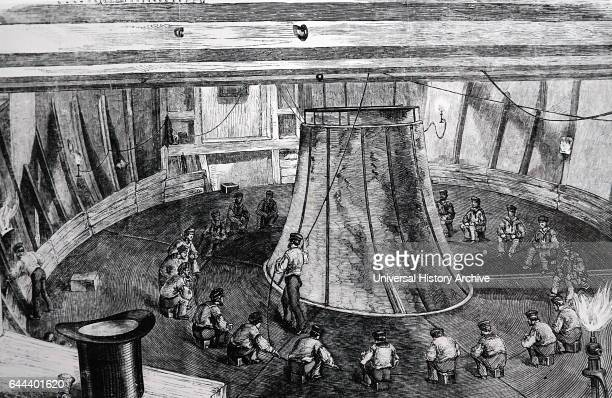 Taking the cable on board HMS Agamemnon in July 1857 for the first attempt to lay a transatlantic undersea telegraph link between North America and...