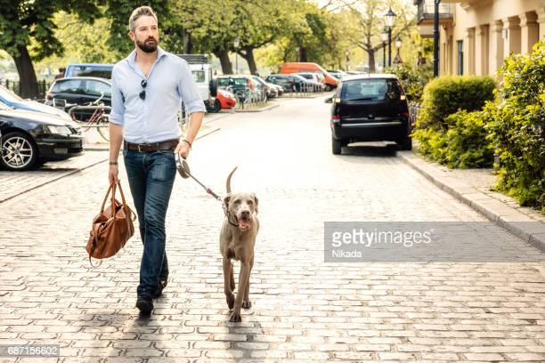 Taking the dog for a walk in the city