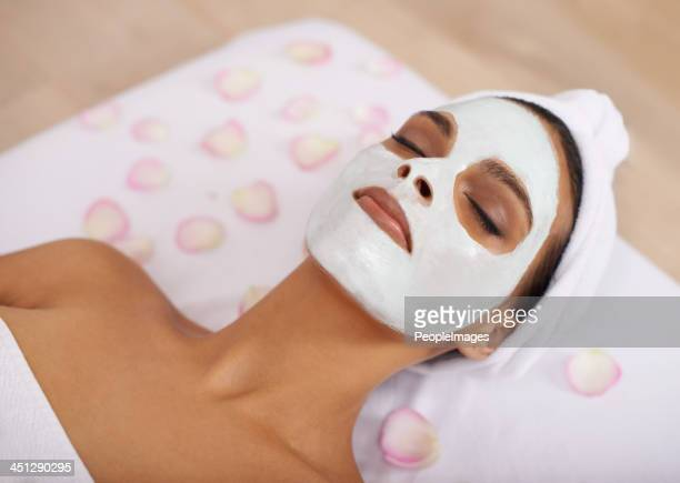 Taking time to pamper her skin