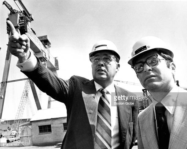 P Takis Veliotis left president and general manager of the General Dynamics shipyard in Quincy MA gives Massachusetts Governor Michael Dukakis a tour...