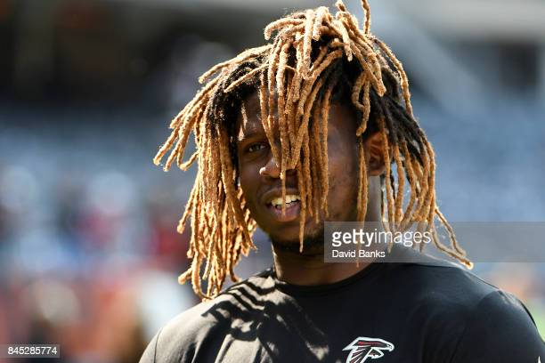 Takkarist McKinley of the Atlanta Falcons warms up prior to the game against the Chicago Bears at Soldier Field on September 10 2017 in Chicago...