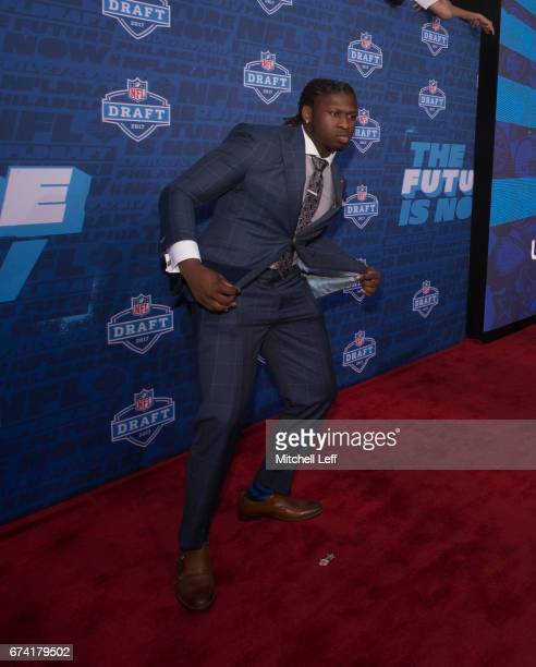 Takkarist McKinley of UCLA poses for a picture on the red carpet prior to the start of the 2017 NFL Draft on April 27 2017 in Philadelphia...