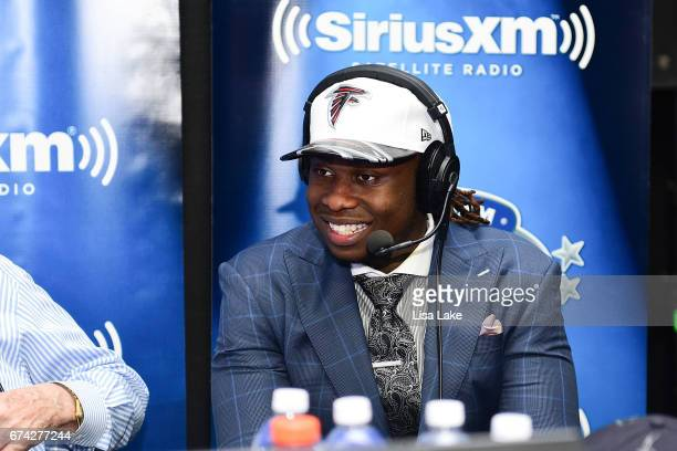 Takkarist McKinley of UCLA visits the SiriusXM NFL Radio talkshow after being picked overall by the Atlanta Falcons during the first round of 2017...
