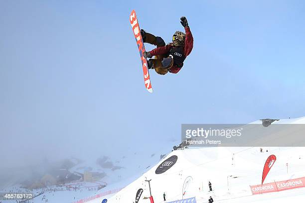 Taku Hiraoka of Japan competes in the FIS Snowboard World Cup Halfpipe Finals during the Winter Games NZ at Cardrona Alpine Resort on August 30 2015...