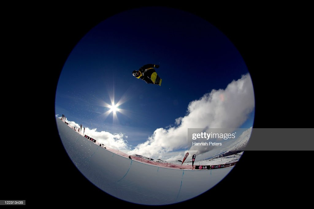 <a gi-track='captionPersonalityLinkClicked' href=/galleries/search?phrase=Taku+Hiraoka&family=editorial&specificpeople=7152528 ng-click='$event.stopPropagation()'>Taku Hiraoka</a> of Japan competes in the Snowboard Half Pipe Semi Finals on day 16 of the Winter Games NZ at Cardrona Alpine Resort on August 28, 2011 in Wanaka, New Zealand.