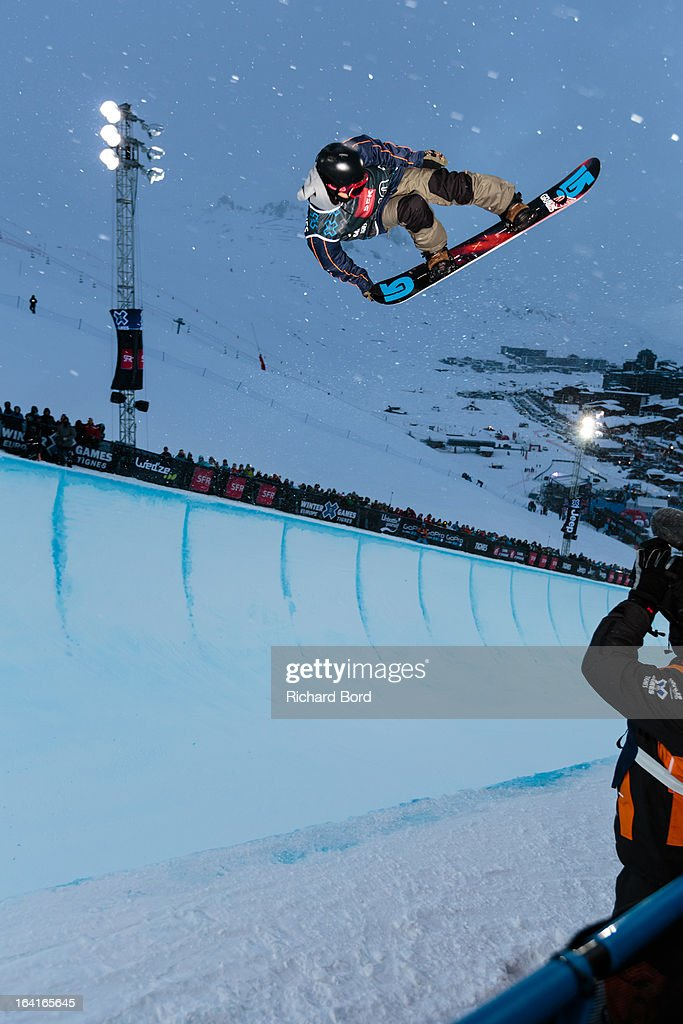 Taku Hiraoka of Japan performs during the Men's Snowboard Superpipe elimination during day three of Winter X Games Europe 2013 on March 20, 2013 in Tignes, France.