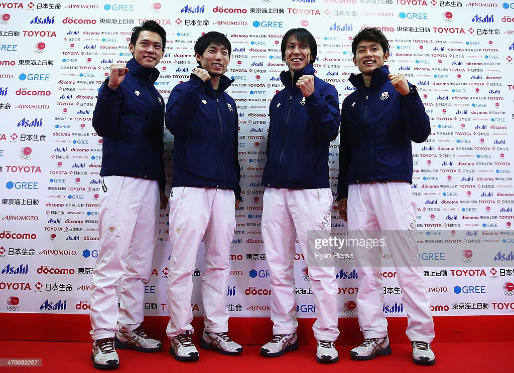 <a gi-track='captionPersonalityLinkClicked' href=/galleries/search?phrase=Taku+Takeuchi&family=editorial&specificpeople=4206331 ng-click='$event.stopPropagation()'>Taku Takeuchi</a>, <a gi-track='captionPersonalityLinkClicked' href=/galleries/search?phrase=Daiki+Ito&family=editorial&specificpeople=722800 ng-click='$event.stopPropagation()'>Daiki Ito</a>, <a gi-track='captionPersonalityLinkClicked' href=/galleries/search?phrase=Noriaki+Kasai&family=editorial&specificpeople=722779 ng-click='$event.stopPropagation()'>Noriaki Kasai</a> and <a gi-track='captionPersonalityLinkClicked' href=/galleries/search?phrase=Reruhi+Shimizu&family=editorial&specificpeople=9641103 ng-click='$event.stopPropagation()'>Reruhi Shimizu</a> of Japan attend a Japanese medalist press conference at Japan House on day 11 of the Sochi 2014 Winter Olympics on February 18, 2014 in Sochi, Russia.