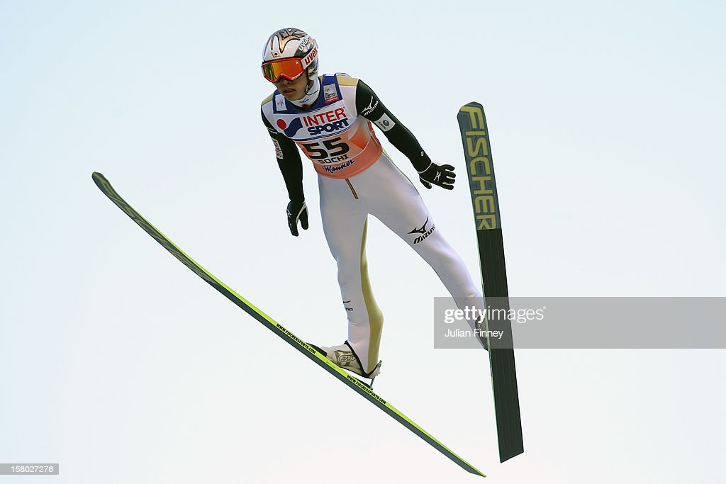 Taku Takeuchi of Japan competes in a Ski Jump during the FIS Ski Jumping World Cup at the RusSki Gorki venue on December 9, 2012 in Sochi, Russia.