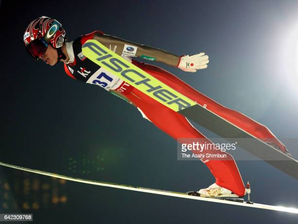 Taku Takeuchi of Japan competes in the first jump in the Men's Normal Hill during day two of the FIS Ski Jumping World Cup PyeongChang at Alpensia...