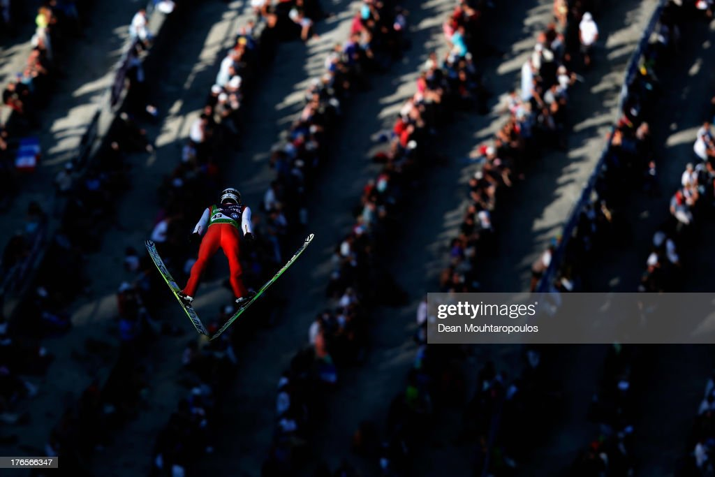 Taku Takeuchi of Japan competes in the FIS Ski Jumping Grand Prix Mens Large Hill Individual Training Session on August 15, 2013 in Courchevel, France.