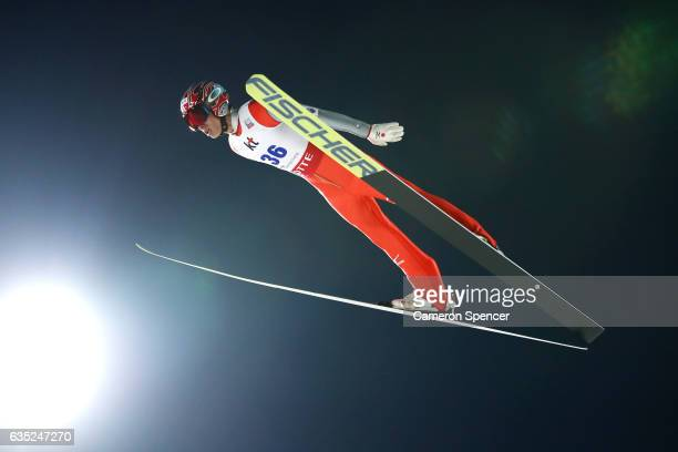 Taku Takeuchi of Japan jumps during trainining for the 2017 FIS Ski Jumping World Cup test event For PyeongChang 2018 at Alpensia Ski Jumping Center...
