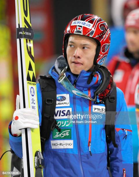 Taku Takeuchi of Japan reacts after the Men's Normal Hill during day two of the FIS Ski Jumping World Cup PyeongChang at Alpensia Ski Jumping Center...
