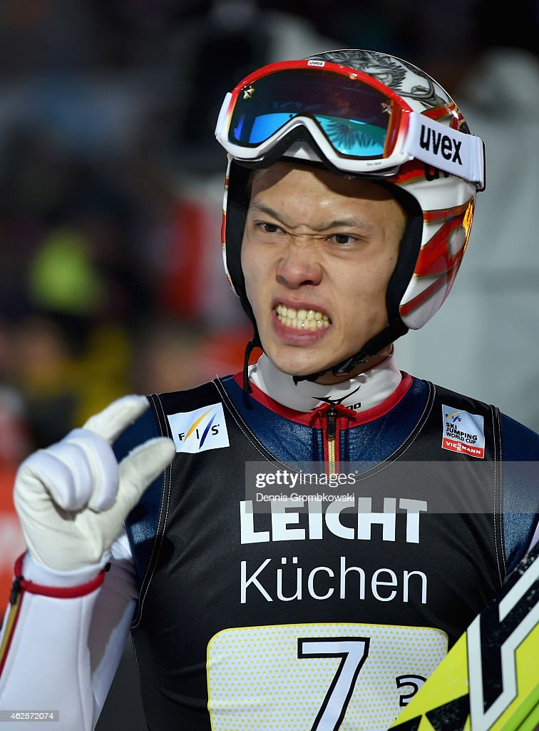 <a gi-track='captionPersonalityLinkClicked' href=/galleries/search?phrase=Taku+Takeuchi&family=editorial&specificpeople=4206331 ng-click='$event.stopPropagation()'>Taku Takeuchi</a> of Japan reacts during the Large Hill Team competition on day two of the FIS Ski Jumping World Cup on January 31, 2015 in Willingen, Germany.