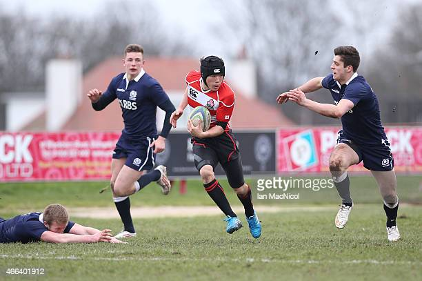 Takuhei Yasuda of Japan in action during the International Rugby Union Challenge Match between Scotland U19 and Japan Schools at Inverleith on March...