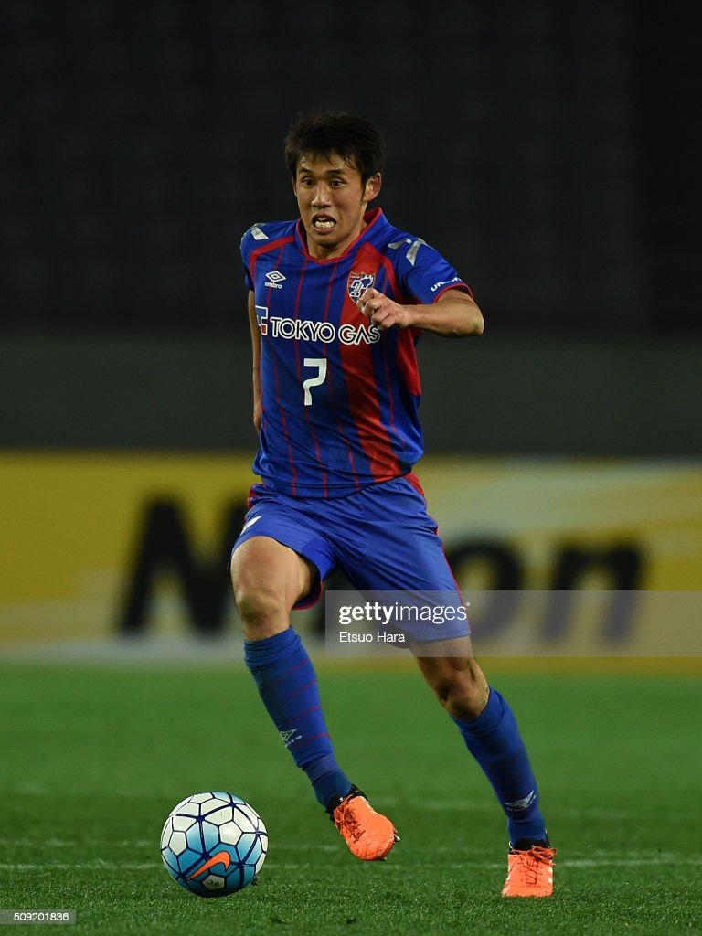 <a gi-track='captionPersonalityLinkClicked' href=/galleries/search?phrase=Takuji+Yonemoto&family=editorial&specificpeople=7645525 ng-click='$event.stopPropagation()'>Takuji Yonemoto</a> of FC Tokyo in action during the AFC Champions League playoff round match between FC Tokyo and Chonburi FC at the Tokyo Stadium on February 9, 2016 in Chofu, Japan.