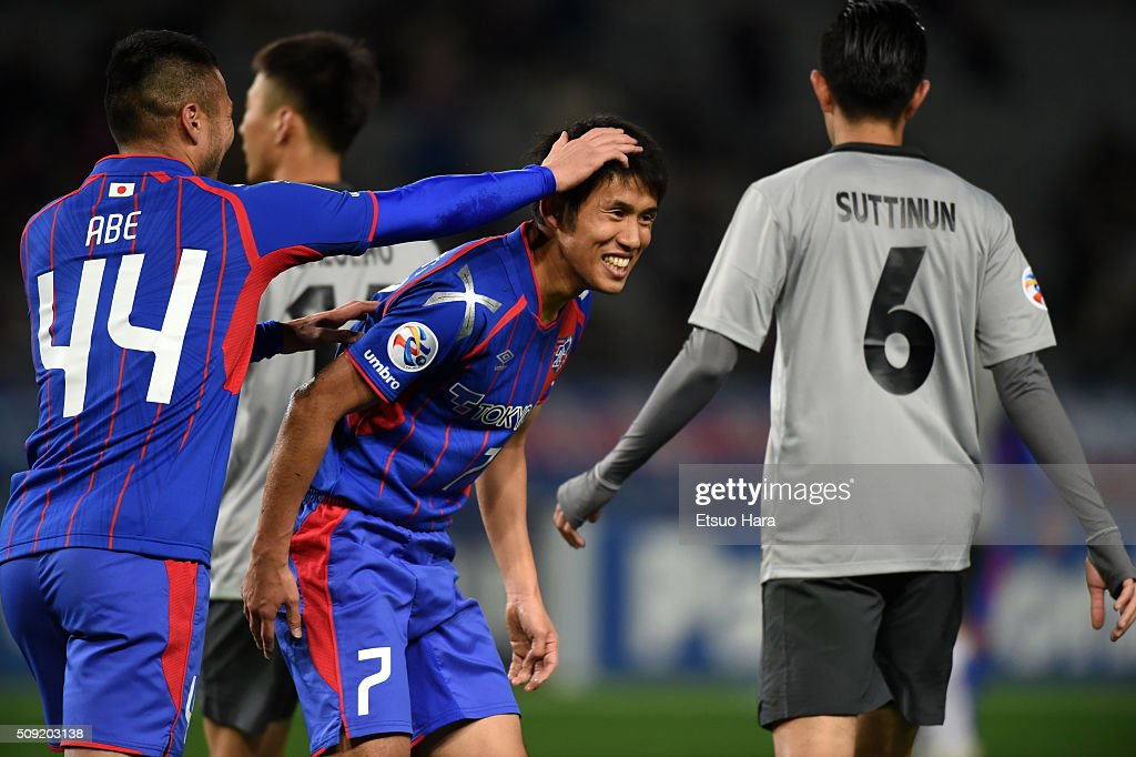 <a gi-track='captionPersonalityLinkClicked' href=/galleries/search?phrase=Takuji+Yonemoto&family=editorial&specificpeople=7645525 ng-click='$event.stopPropagation()'>Takuji Yonemoto</a> of FC Tokyo#7 celebrates scoring his team's fifth goal during the AFC Champions League playoff round match between FC Tokyo and Chonburi FC at the Tokyo Stadium on February 9, 2016 in Chofu, Japan.